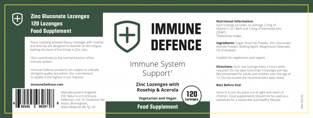 immune defence ingredient label